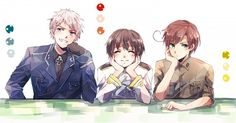 Prussia, Japan, & Romano. OMG Japan?! Is that you?! Minna are so kawaii~ <3