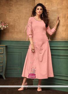 Steal the hearts away with this pink cotton satin party wear kurti. The stunning thread work work all through the dress is awe inspiring. (Slight variation in color, fabric & work is possible. Model i. Churidar, Patiala, Anarkali, Salwar Kameez, Sharara, Kurti Sleeves Design, Kurta Neck Design, Sleeves Designs For Dresses, Sleeve Designs