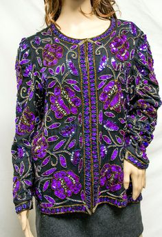 a8534a1fc38b9 Free Ship Laurence Kazar Beaded Top Sequin Women s Large Beaded Top