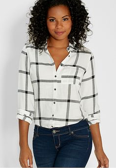 button down shirt in large scale black and white plaid (original price, $29) available at #Maurices #myaltparty #altlovesmaurices