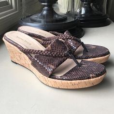 Taryn Rose Keely Sandal brown faux snake 8 M Taryn Rose Keely braided cord wedge sandal brown snake print fabric 3 inch cork wedge heel 1 inch platform braided thing strap cushioned insole smooth leather outsole Taryn Rose Shoes Wedges