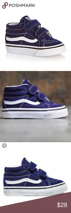 dfb77ce2a7 Shop Kids  Vans Blue White size Shoes at a discounted price at Poshmark.  Description  This is a new pair of boys toddler mid re-issue vans patriot blue  and ...