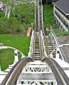 The Jack Rabbit wooden roller coaster at Kennywood Park ... it DOES come off the tracks on the double dip!!