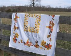 """Vintage Tablecloth with Yellow Daisies, Cooking Theme, Mid-Century Linen, Fall Colors, Cottage or Country Farmhouse Style, 54"""" by 47"""""""