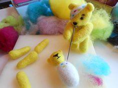 He helps us to needle felt his new wife! New Wife, Teddy Bears, Needle Felting, Felting