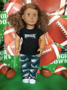 Philadelphia  EAGLES ! 18 Inch Doll Clothes ,Handmade ,Fits All 18 Inch   Dolls, 2pc Outfit by BlueCowDesigns on Etsy