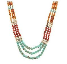 Turquoise Coral & Amber Multi-Color Triple Strand Bead Necklace By Garold Miller