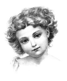 Vintage Drawing - Girl with Sweet Face - Old Picture