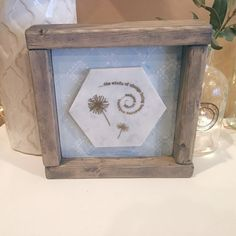 Wooden Shelf Sitter. Marble with Embossed Dandelions and Quote. Free Shipping!