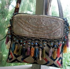 Items similar to QUEEN OF SHEBA - custom made from Client Provided textiles - Boho, Tribal, Vintage - Custom Order Only on Etsy Hippie Style, Hippie Chic, Bohemian Style, Ethnic Bag, Carpet Bag, Boho Bags, Handmade Bags, Handmade Leather, Purses And Handbags