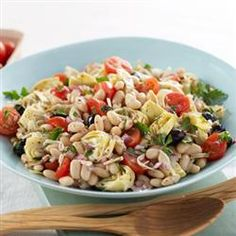 Mediterranean Bean Salad - white kidney beans, artichoke, tomatoes, cheese, parsley, red onions, black olives