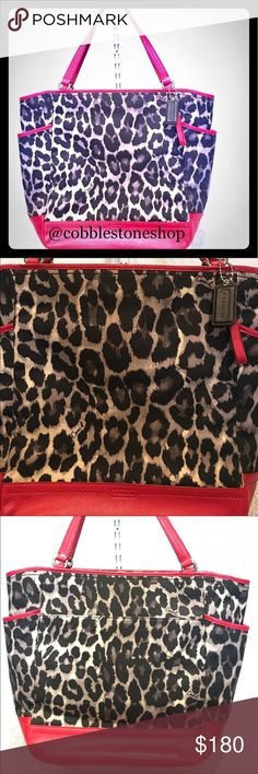 "COACH Park Ocelot Leopard Print Tote Bag F25178 COACH Park Ocelot Leopard Print Tote Bag F25178  Approx. 16"" (L) x 14""(H) x 5""(W) with 8"" Strap drop Coach Bags Totes"