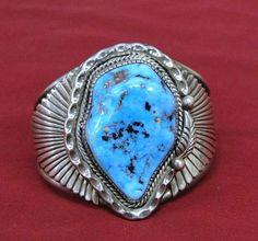 Native American Indian Willeto Navajo Sterling Kingman Turquoise Bracelet Cuff