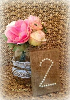 BURLAP WEDDING TABLE Numbers Pearls Reception Decor, Rustic, Shabby Chic