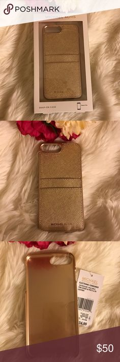 😍🌟iPhone 7 Plus cover and card holder 🤩RARE & BNWT Michael Kors Gold Two slots on back for cards  STUNNING Michael Kors Accessories Phone Cases