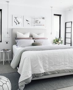 Stylish White Bedroom colour schemes are perfect for a contemporary Bohemian style scheme. Find out all you need to know about putting together a white bedroom palette here. Grey Bedroom Furniture, Master Bedroom Interior, Bedroom Decor, Bedroom Inspo, Bedroom Ideas, Light Bedroom, Bedroom Inspiration, Bedroom Artwork, Cosy Bedroom