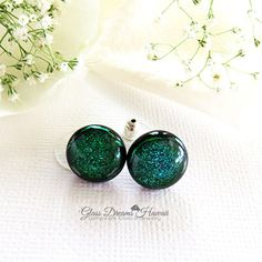 Emerald Green Glass Stud Earrings, Fused Glass Jewelry, Hawaii... ($20) ❤ liked on Polyvore featuring jewelry, earrings, hand made jewellery, handmade jewelry, glass earrings, glass jewelry and earrings jewellery