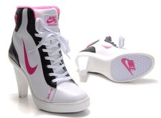Nike 2012 Heels Dunk High Womens Shoes Ankle Boots White Black Pink