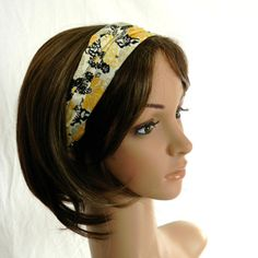 Cotton Headband in Modern Floral Daisy in Yellow by thimbledoodle