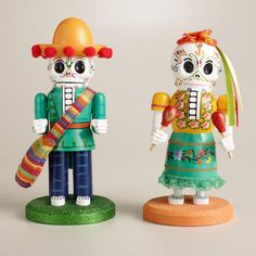 "Wooden Los Muertos Nutcrackers at Cost Plus World Market - These exclusive nutcrackers celebrate the skeleton figures known as ""calacas"" that represent the dead enjoying a happy afterlife. Halloween Gifts, Happy Halloween, Halloween Decorations, Halloween Party, Halloween 2013, Nutcracker Christmas, Christmas Ornaments, Skeleton Figure, All Souls Day"