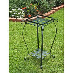 @Overstock.com - International Caravan Square Iron Plant Stand - Enrich your garden and patio with this iron plant standOutdoor planter includes a second shelf near ground levelPlant stand measures 27 inches high x 15 inches square  http://www.overstock.com/Home-Garden/International-Caravan-Square-Iron-Plant-Stand/3678883/product.html?CID=214117 $39.49