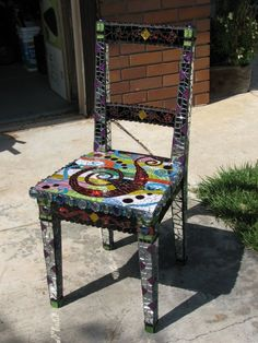 My mosaic chair, front view