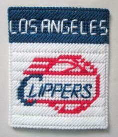Los Angeles Clippers tissue box cover in plastic canvas PATTERN ONLY by AuntCC for $2.50 Plastic Canvas Coasters, Plastic Canvas Tissue Boxes, Plastic Canvas Patterns, Kleenex Box, Tissue Box Covers, Team Names, Key Chain, Banks, Needlepoint