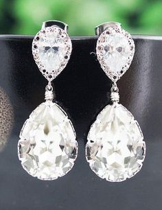 Clear White Swarovski Crystal Tear Drops Bridesmaid Earrings
