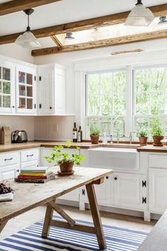 Küchenteppich Design Streifen Weiß Blau