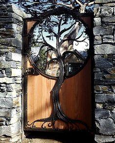Wrought iron tree-form garden gate