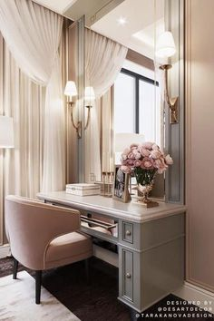 Soft rosy mauve can be chic, flirty and feminine making it a perfect choice for a dressing room. PHOTO BY Soft rosy mauve can be chic, flirty and feminine making it a perfect choice for a dressing room. PHOTO BY Tara Kanova Desart Decor Home Room Design, Living Room Designs, Bedroom Designs, Closet Designs, Living Rooms, Luxury Home Decor, Cheap Home Decor, Dressing Table Design, Dressing Table Vanity