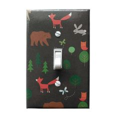 Fox Light Switch Cover   Bear   Rabbit   Woodland Nursery Decor