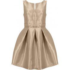 Elegancka sukienka rozkloszowana z kokardką beżowa https://stylovesukienki.pl/ #sukienka #dress #wesele