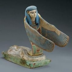 """Egyptian Goddess Weret-Hekau. The winged serpent with a human head .Weret-Hekau, means """"The One Great of Magic"""". (tomb  of Amenhotep II),"""