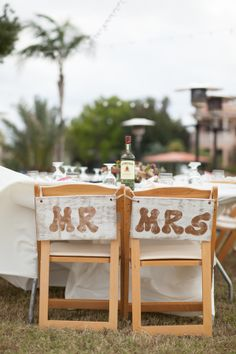 Mr & Mrs Sweetheart Table Wedding Chairs - Vintage Pomegranate & Lime Waterfront Tampa Wedding - Esther Louise Photography