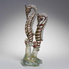 Pair-Barovier-art-glass-seahorses-mounted-to-freeform-base-Murano-Lot-189