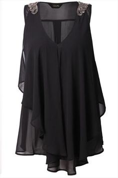 Black Embelished Shoulder Frill Front Blouse, can totally see this over leather leggings.