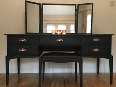 "dressing table upcycle with Fusion Mineral matt paint ""Coal Black"" with gorgeous on trend copper cup handles. Triple mirrors and reupholstered STAG stool Dressing Table Upcycled, Dressing Table Paint, Black Dressing Tables, Dressing Table With Drawers, Furniture Dressing Table, Vintage Dressing Tables, Dressing Table Mirror, Dressing Table New Design, Dressing Table Handles"
