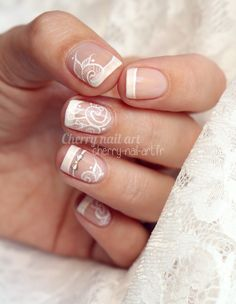 Nail art mariage french noeud et dentelle