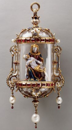 Pietà Date: 19th century Culture: German or French Medium: Gold, enamel, crystal, rubies, pearls