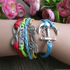 anchor LOVE infinity retro bracelets,only $0.99 shop at Gofavor.us