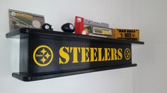 Pittsburgh Steelers NFL Themed Floating Wall Shelf Man Cave Rec Room Den Office by FamilyCustomSports on Etsy