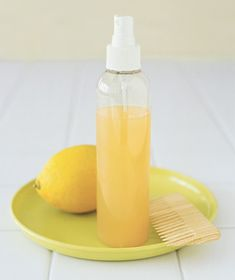 Natural highlights.  Simmer two sliced lemons in water for an hour.  Strain, then pour into a spray bottle.