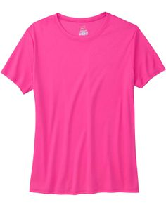 Ladies 4 oz. Cool Dri® T-Shirt,100% polyester; wicks moisture away from the body; rapid dry interlock fabric; suitable for screenprinting and sublimation; tag-free neck label at Gotapparel.com.