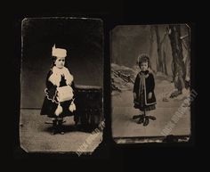 Two Tintype Photos Little Girls in Winter Dress & Posing Stands & Newspaper