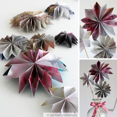 Papiersterne aus alten Zeitschriften / Paper stars made from pages of magazines / Upcycling