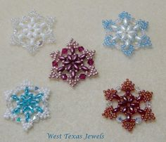 PDF PATTERN-Snowflake #1 Beaded Ornament Pattern