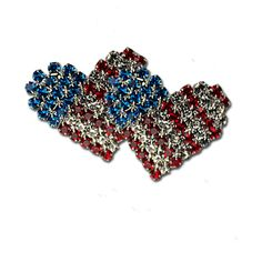 Crystal American Flag Heart Earrings - Silverplate with red white and blue crystals in the shape of a heart.  Price: $17.50  #American flag earrings #patriotic earrings #heart earrings http://www.starsandstripesproducts.com/crystal-heart-earrings/