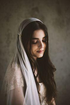 English net Juliet cap veil with rhinestone accents — Mignonne Handmade
