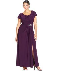 Patra Plus Size Flutter-Sleeve Jewel Gown   macys.com